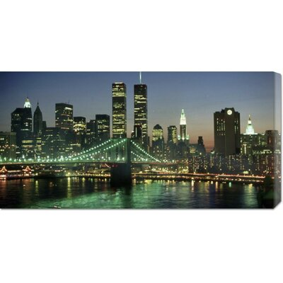 'Manhattan Skyline and Brooklyn Bridge' by Kevin Fleming Stretched Canvas Art