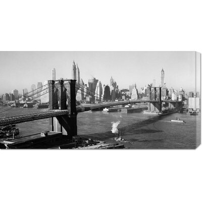 Global Gallery Unknown 'Brooklyn Bridge with Manhattan skyline, 1930s' Stretched Canvas Art