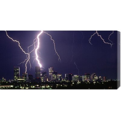 Global Gallery 'Lightning over a City' by Sakuno Stretched Canvas Art