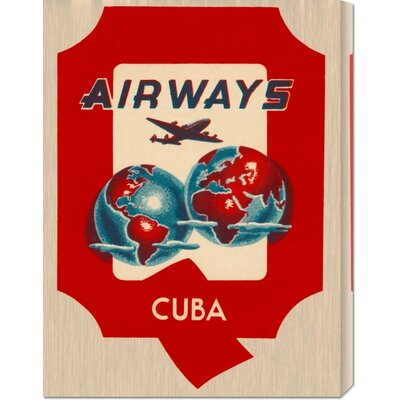 Global Gallery 'Q Airways Cuba' by Retro Travel Stretched Canvas Art
