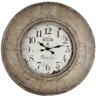 Kensington Clock in Distressed Light Brown with Cream Highlights
