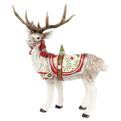 Winter White Holiday Deer Figurine