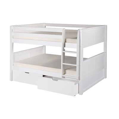 Camaflexi Full over Full Low Bunk Bed with Drawers and