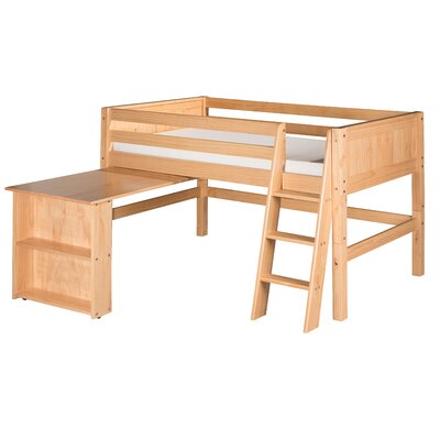 Camaflexi Low Loft Bed with Retractable Desk and Panel Headboard