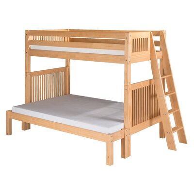 Twin Over Full Bunk Bed with Lateral Angle Ladder and Mission Headboard
