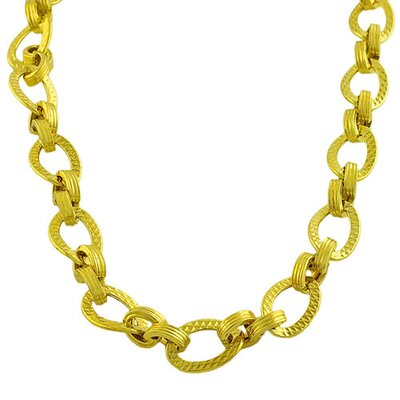 Gold over Sterling Silver Diamond Cut Oval Link Necklace