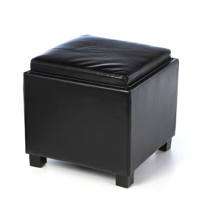 Classic Faux Leather Square Storage Ottoman