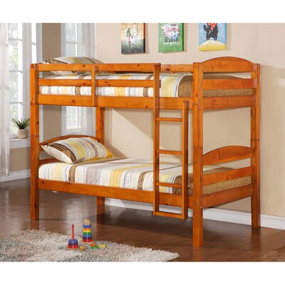Home Loft Concept Twin over Twin Bunk Bed with Built-In Ladder
