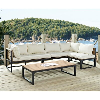 Home Loft Concept All-Weather 4 Piece Conversation Deep Seating Group with Cushion