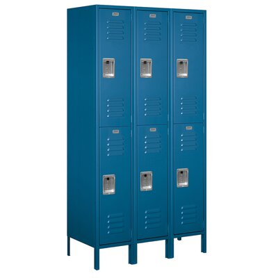 Salsbury Industries Assembled Double Tier 3 Wide Extra Wide Standard Locker