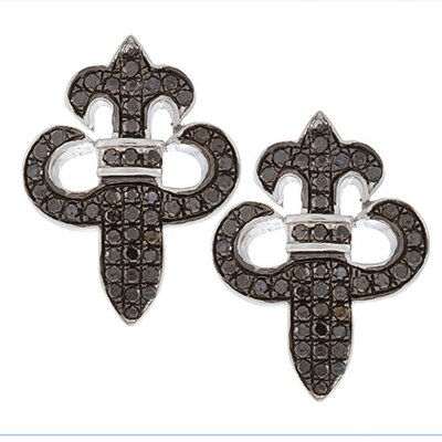 Fleur De Lis Diamond Stud Earrings