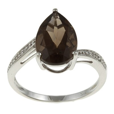 White Gold Pear Cut Gemstone and Diamond Ring