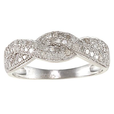 Sterling Silver Braided Pave Set Diamond Ring