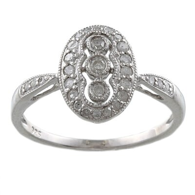 Sterling Silver Pave Set Diamond Ring