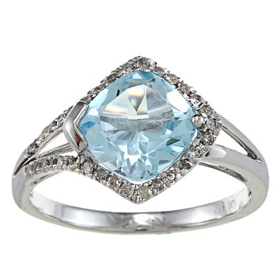 White Gold Cushion Cut Gemstone and Diamond Ring
