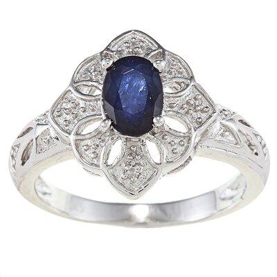 Sterling Silver Genuine Oval Cut Sapphire Diamond Ring
