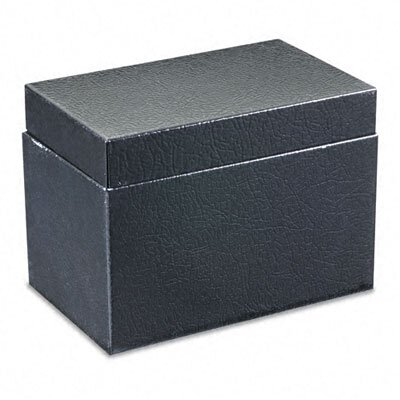 Buddy Products Steel Card File Box with Hinged Lid Holds Approximately 400 4 x 6 Cards, Black