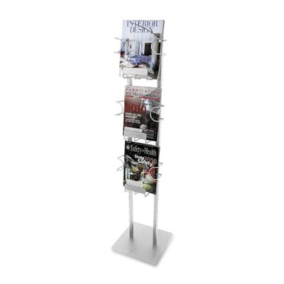 "Buddy Products Magazine Displayer, 3 Pockets, 12""x12""x48"", Silver"