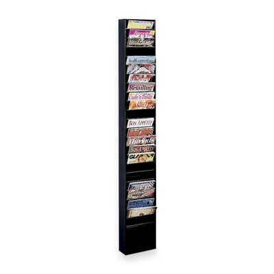 Buddy Products Literature Display Rack, Wall Mount, 9-3/4&quot;x4&quot;x65-1/2&quot;, Black