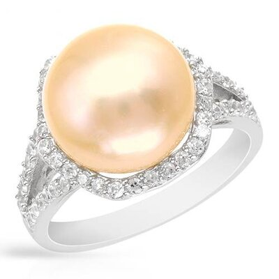 925 Sterling Silver Round Cut Cultured Pearl Ring
