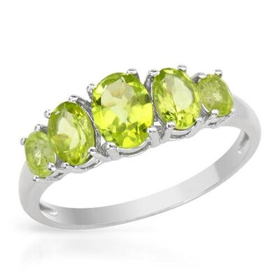 Sterling Silver Oval Peridot Ring