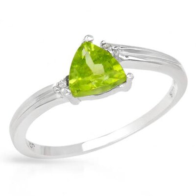 925 Sterling Silver Trillion Cut Peridot Ring