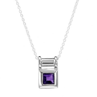 925 Sterling Silver Square Amethyst Necklace