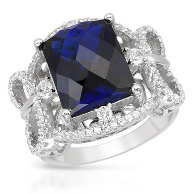 925 Sterling Silver Rectangular Cut Sapphire Ring