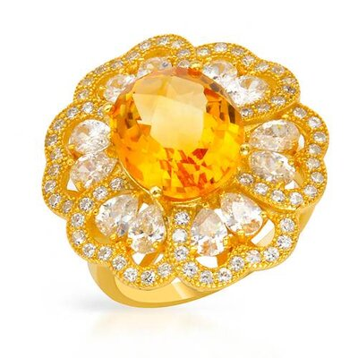 18k/925 Gold Plated Silver Checkerboard Cut Citrine Ring