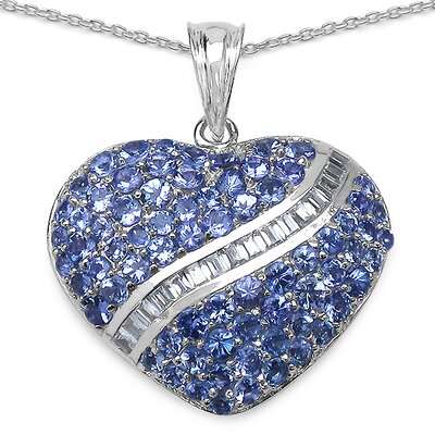 JewelzDirect 925 Sterling Silver Heart Cut Sapphire Pendant