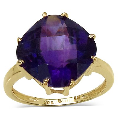 14K Gold Plated Cushion Cut Gemstone Ring