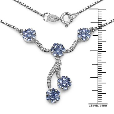 JewelzDirect 925 Sterling Silver Tanzanite Necklace