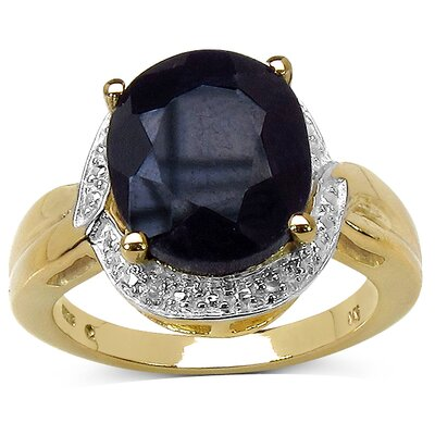 14K Gold Plated Round Cut Black Sapphire Halo Ring
