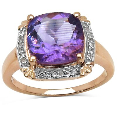 Rose Gold Plated Cushion Cut Amethyst Halo Ring
