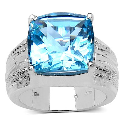 925 Sterling Silver Cushion Cut Swiss Blue Topaz Ring