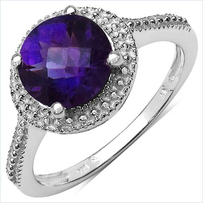 925 Sterling Silver Round Cut Amethyst Halo Ring