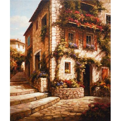 North American Art Afternoon Sun on the Steps Canvas Wall Art