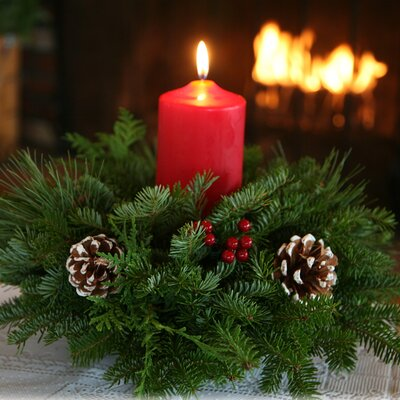 Worcester wreath winter elegance pillar candle centerpiece for Christmas centerpiece ideas for round table