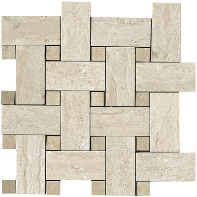 Travertini Random Sized Matte Mosaic Weave Floor and Wall Tile in Beige