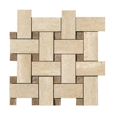 Samson Tile Travertini Random Sized Matte Mosaic Weave Floor and Wall Tile in Cream