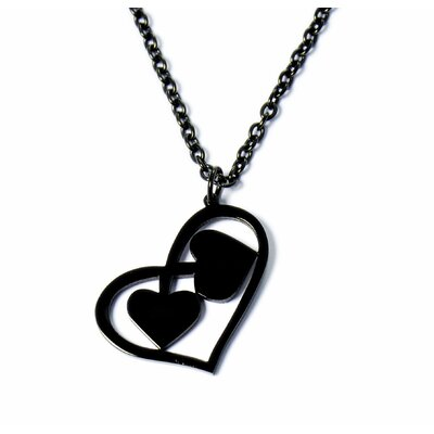 U Name it Jewelry Stainless Steel Two Hearts Necklace