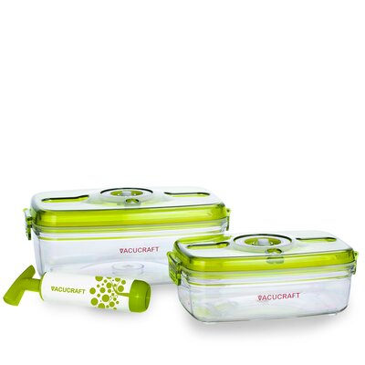 Vacucraft 3 Piece Vacuum Food Container Set