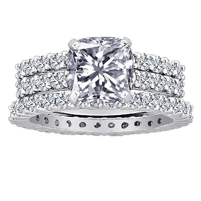 Cushion Cut Cubic Zirconia Bridal Set