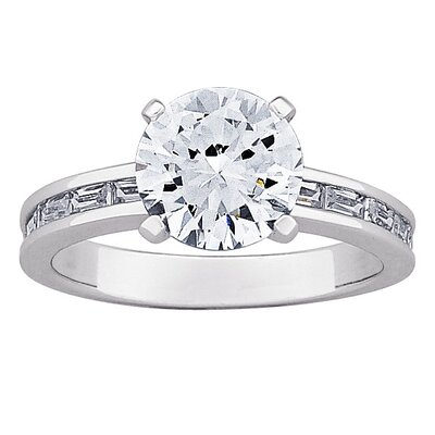 Sterling Silver Round Cut Cubic Zirconia Engagement Ring