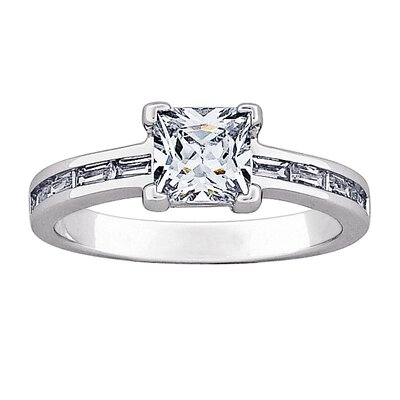 Sterling Silver Princess Cut Cubic Zirconia Engagement Ring