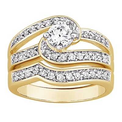 14K Gold Plated Round Cut Cubic Zirconia Swirl Bridal Set