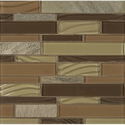Random Sized Stone Mosaic Linear Tile in Maple Rum