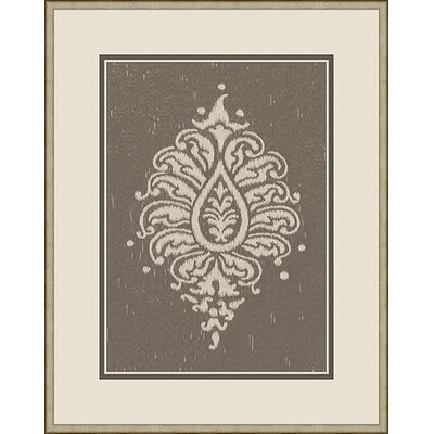 Paisley Framed Graphic Art in Taupe and Grey