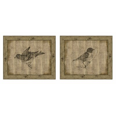 Bird on Distressed Antique Linen I Wall Art Collection