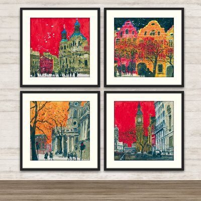 City Scenes Framed Graphic Art (Set of 4)